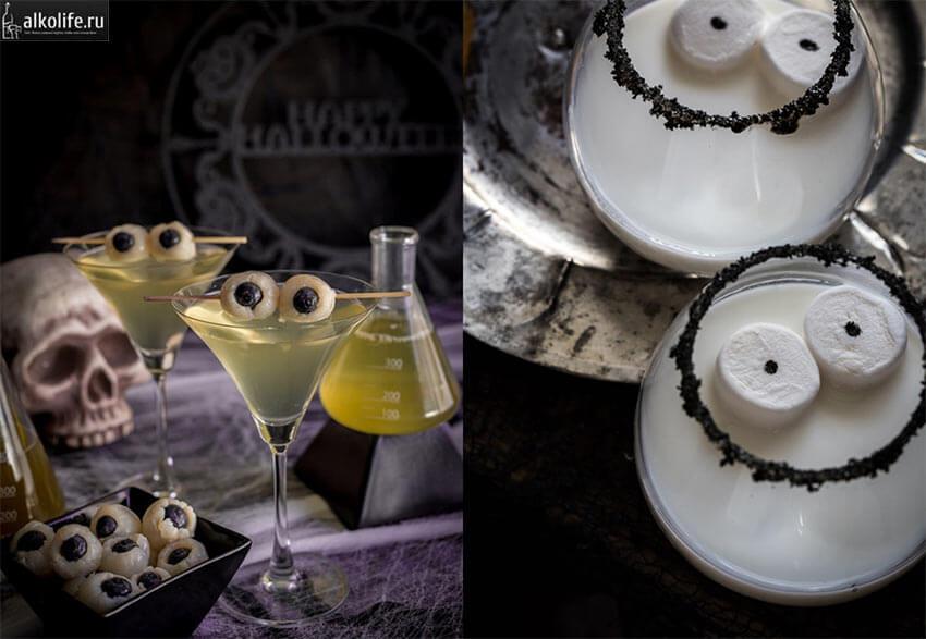 Имитация глаз для коктейлей к Хэллоуину