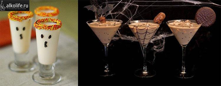 Рисунки на стаканах - украшение для коктейлей на Хэллоуин