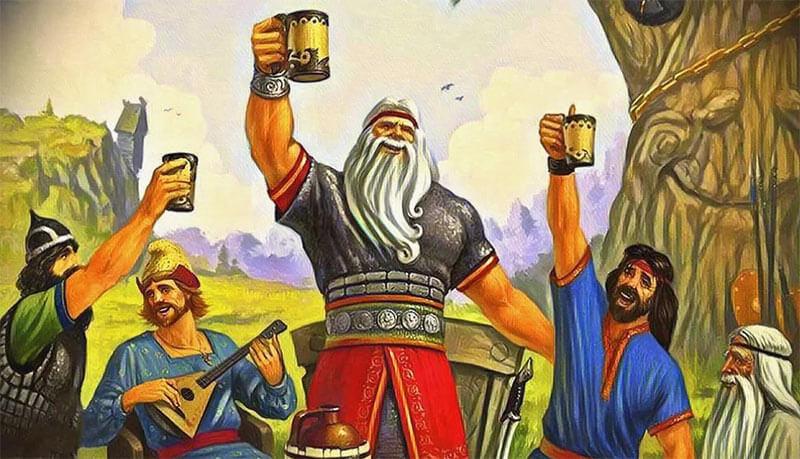Русы на пиру пьют пиво - рисунок